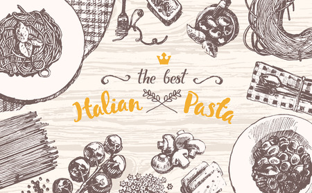 lunch table: Hand drawn vector illustration of an Italian pasta on a wooden table top, sketch