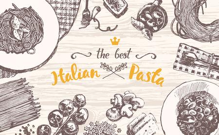 comida italiana: ilustración vectorial de dibujado a mano de una pasta italiana sobre una mesa de madera, boceto Vectores
