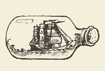 ship with gift: Glass bottle with ship inside, hand drawn vector illustration, sketch Illustration