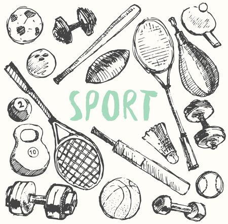 sport equipment: Sport equipment doodle set, hand drawn vector illustration, sketch