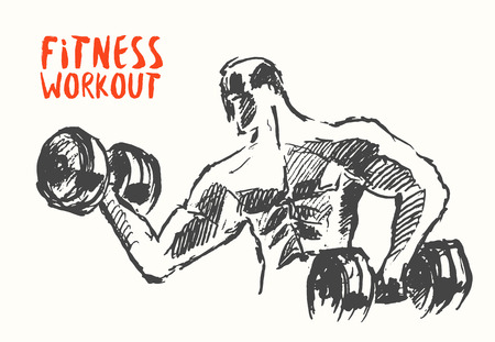 Hand getrokken illustratie van sterke man voor logo of poster