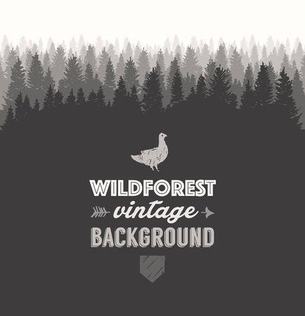 wanderlust: Pine forest design template hand drawn vector illustration Illustration