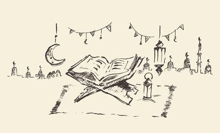 holy book: Holy book Koran, Ramadan celebration illustration, hand drawn