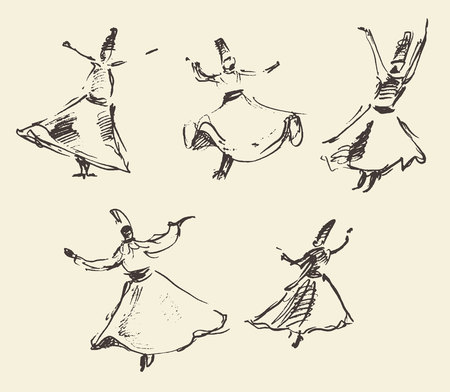 whirling: Whirling dervishes illustration hand drawn sketch
