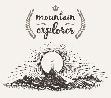 explorer man: Hand drawn illustration of a man on top of a mountain at sunrise winner concept mountain explorer sketch Illustration