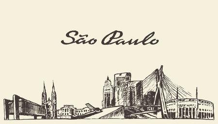 Sao Paulo skyline vector illustration hand drawn sketch Illustration