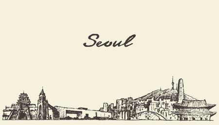 Séoul skyline Corée du Sud millésime main dessiné croquis illustration gravée
