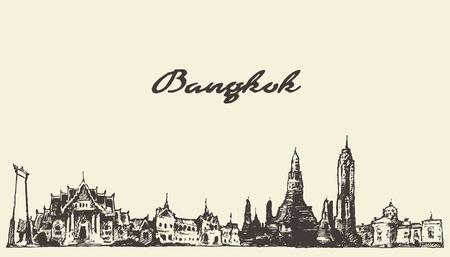 Bangkok skyline Thailand vintage engraved illustration hand drawn