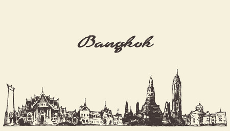 bangkok: Bangkok skyline Thailand vintage engraved illustration hand drawn