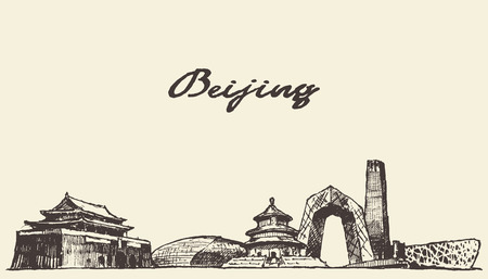 Beijing skyline vintage vector engraved illustration hand drawn, sketch