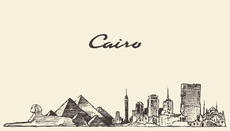 Cairo skyline Egypte cru dessiné à la main esquisse illustration gravée Banque d'images - 57753606