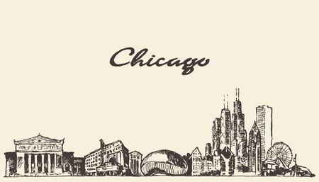 Chicago skyline vintage engraved illustration hand drawn sketch