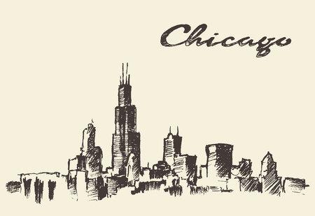 chicago: Chicago skyline vintage engraved illustration hand drawn sketch