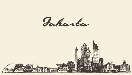 Jakarta skyline vintage gegraveerde illustratie, getrokken hand, schets