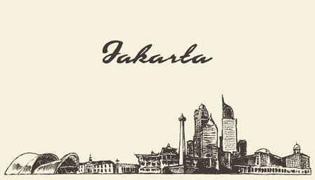 Jakarta skyline vintage engraved illustration, hand drawn, sketch Vectores