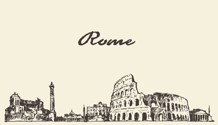 Rome skyline vintage engraved illustration hand drawn sketch Vectores