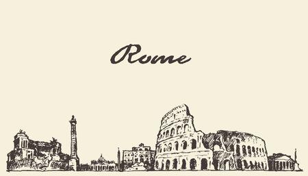 Rome skyline illustrazione d'epoca inciso schizzo disegnato a mano Vettoriali