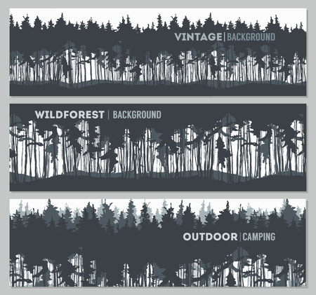 panoramic nature: Pine forest design templates illustration sketch Illustration