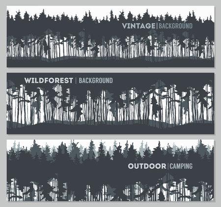 Pine forest design templates illustration sketch Illustration
