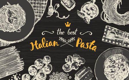 italian pasta: Hand drawn illustration of an Italian pasta on a wooden table top, sketch Illustration