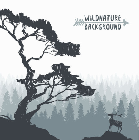 adventures: Forest background design template with pine tree and deer silhouette hand drawn illustration Illustration