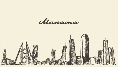 Manama skyline Bahrain vector illustration hand drawn sketch