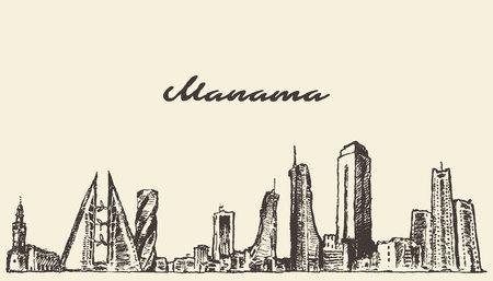 Manama skyline Bahrain vector illustration hand drawn sketch