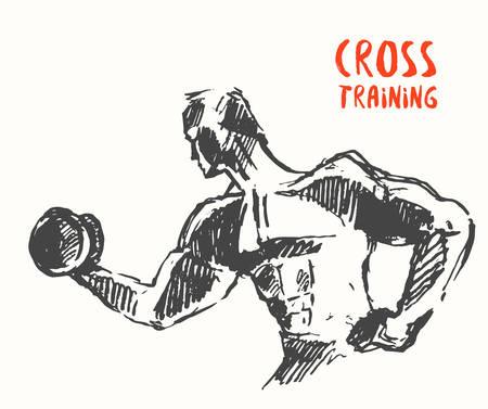 hombre fuerte: dibujado a mano ilustración de hombre fuerte a favor o en cartel