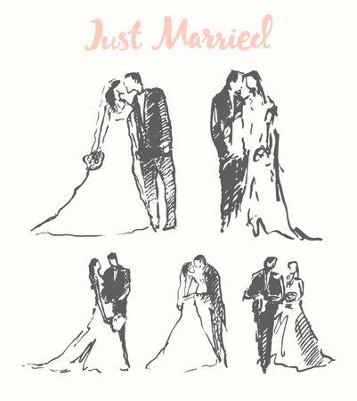 bride veil: Hand drawn illustration of happy bride and groom, vector, sketch