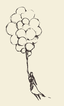 Hand drawn illustration of young girl with balloons. Openness, happiness, freedom concept. Vector illustration, sketch Çizim