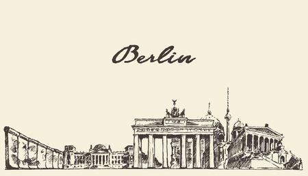 Berlin skyline vintage vector engraved illustration hand drawn sketch
