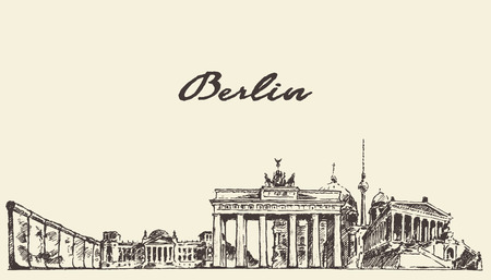 Berlin skyline vintage vector engraved illustration hand drawn sketch