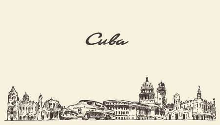 Cuba skyline vintage vector engraved illustration hand drawn sketch Vectores