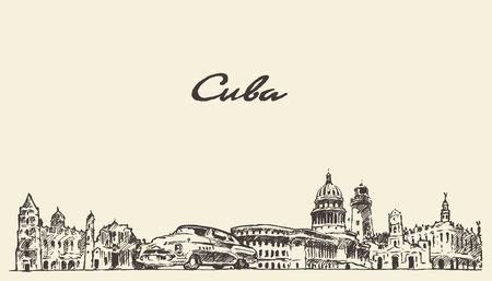 Cuba skyline vintage vector engraved illustration hand drawn sketch Vettoriali