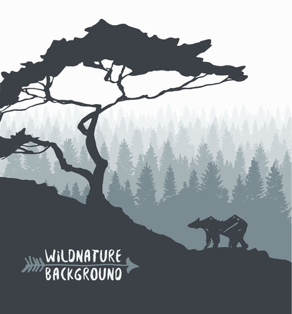 animales del bosque: Forest background design template with pine tree and bear silhouette hand drawn vector illustration Vectores