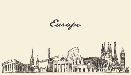 world travel: Europe skyline vintage vector engraved illustration hand drawn sketch
