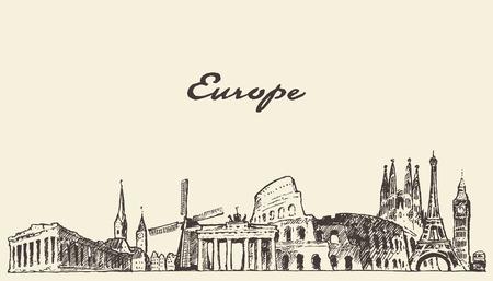 Europe skyline vintage vector engraved illustration hand drawn sketch