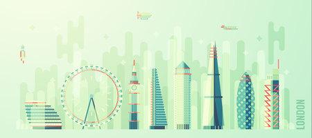 london england: London England city skyline vector illustration flat style