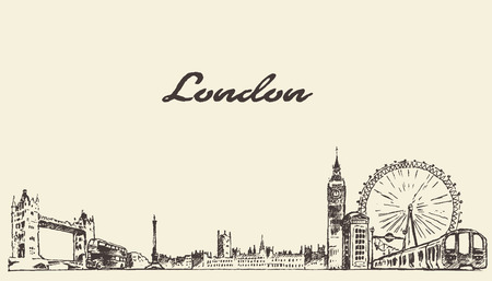London skyline vintage vector engraved illustration hand drawn sketch Ilustrace