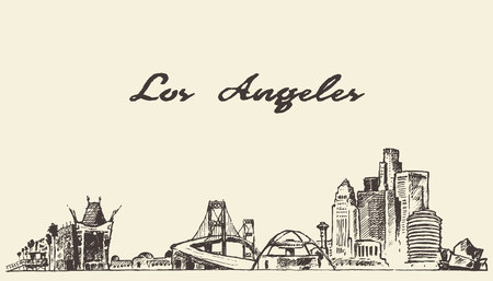 american cities: Los Angeles skyline vintage vector engraved illustration hand drawn sketch Illustration