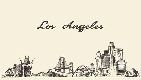 Los Angeles skyline vintage vector engraved illustration hand drawn sketch
