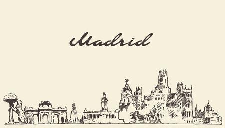 Madrid skyline vector engraved illustration hand drawn sketch Vettoriali
