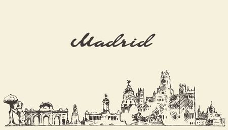 Madrid skyline vector engraved illustration hand drawn sketch Çizim