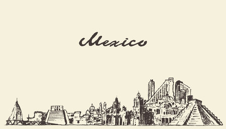 cancun: Mexico skyline vintage vector engraved illustration hand drawn sketch