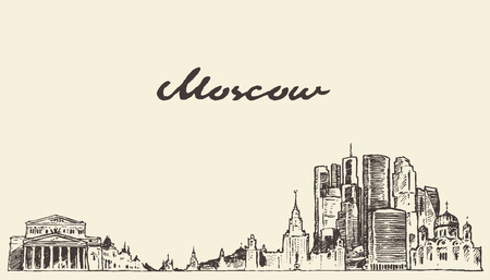 moscow: Moscow skyline Russia vintage vector engraved illustration hand drawn sketch
