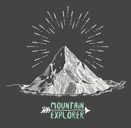 lijntekening: Schets van een bergen, zonsondergang zonsopgang in de bergen graveren stijl met de hand getekende vector illustratie Stock Illustratie
