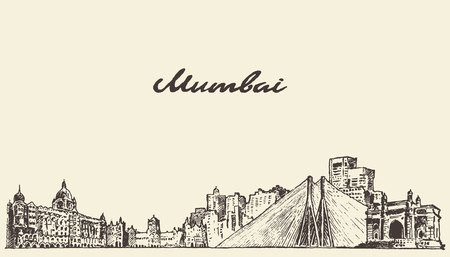 Mumbai skyline vintage vector engraved illustration hand drawn sketch Illustration