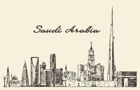 Skyline of Saudi Arabia vintage vector engraved illustration hand drawn sketch Vettoriali