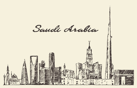 Skyline of Saudi Arabia vintage vector engraved illustration hand drawn sketch Çizim