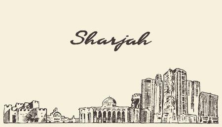 sharjah: Sharjah skyline United Arab Emirates vintage vector engraved illustration hand drawn sketch